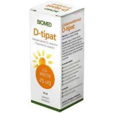 Biomed D-tipat 25ug   D3 + oliiviöljy lisäaineeton 20ml